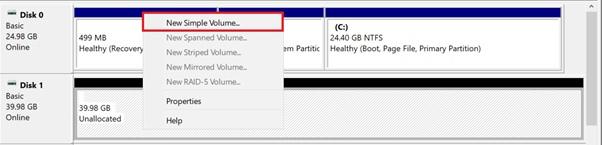 Добавление тома и создание разделов в Windows